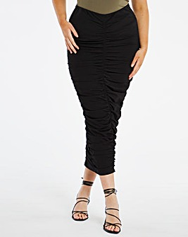 Ruched Front Bodycon Midi Skirt
