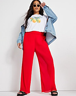 Red Plisse Wide Leg Trousers