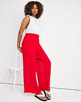 Red Pleated Wide Leg Trousers