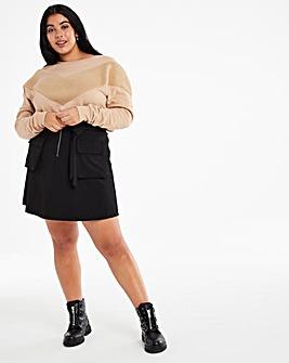 Black Pocket Utility Skirt with Tie Waist