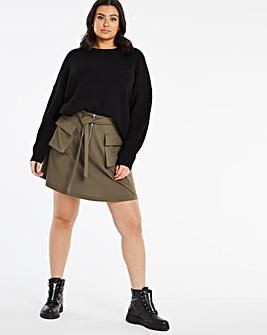 Khaki Pocket Utility Skirt with Tie Waist