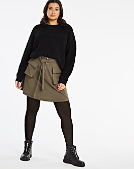 Khaki Pocket Utility Skirt with Tie Waist