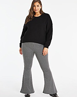 Check Flare Ponte Trousers Regular