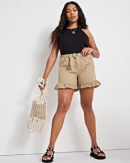 Dark Tan Buckle Front Frill Shorts