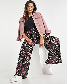 Ditsy Print Jersey Wide Leg Trouser
