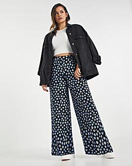 Mixed Floral Jersey Wide Leg Trouser