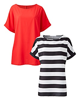 Red/Stripe Pack of 2 Drop Sleeve Top