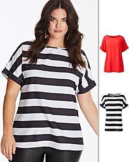 Red/Stripe Pack of 2 Drop Sleeve Top
