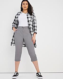 Grey Crop Stretch Chino Trousers