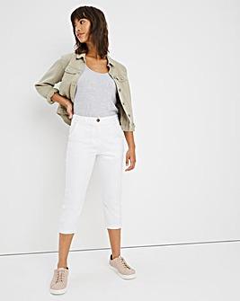 White Crop Stretch Chino Trouser