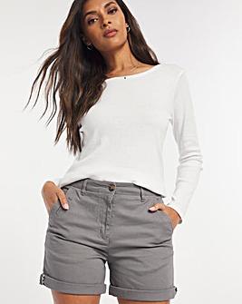 Grey Stretch Chino Shorts