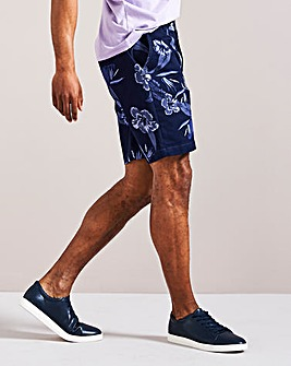 Navy Print Chino Shorts