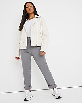 Grey Cotton Rich Stretch Chino Trousers