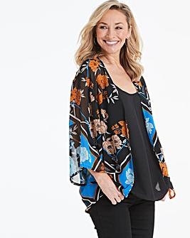 Black Scarf Print Kimono