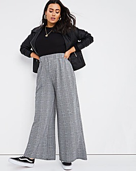 Check Wide Leg Trousers