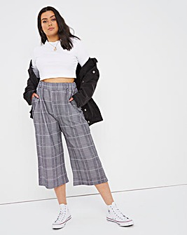 Checked Wide Leg Culottes
