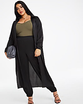 Black Satin Utility Trousers Regular