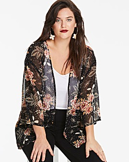 Black Print Kimono