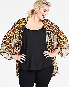 Leopard Print Longline Kimono
