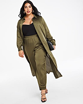 Khaki Satin Utility Trousers Regular