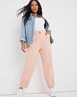 Soft Pink Loose Fit Trousers With Elasticated Waist