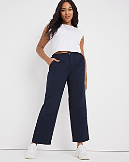 Navy Loose Fit Stretch Chino Trouser
