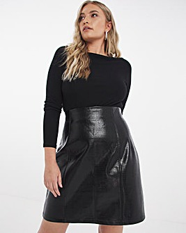 Croc Faux Leather High Waist Mini Skirt