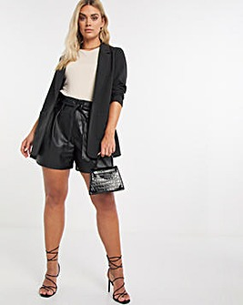 Faux Leather Paperbag Waist Shorts