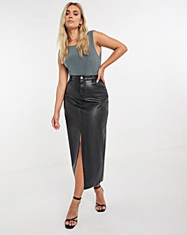 Faux Leather Split Front Midaxi Skirt