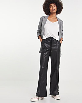 Faux Leather Wide Leg Pull On Jogger
