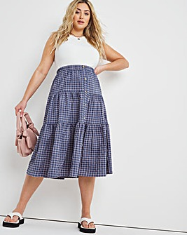 Button Through Check Midi Skirt