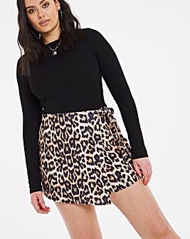 Leopard Asymmetric Tie Waist Skort