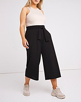 Black High Waist Scuba Culottes