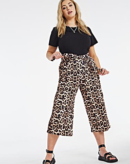 Leopard Print Tie Waist Scuba Culottes