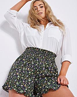 Ditsy Floral Shirred Waist Frill Shorts