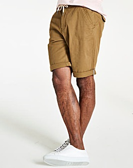 Khaki Elasticated Waist Shorts