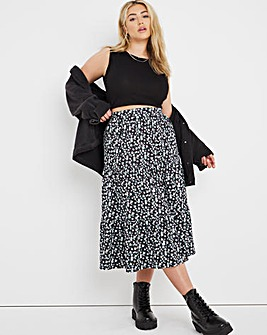 Supersoft Tiered Midi Skirt