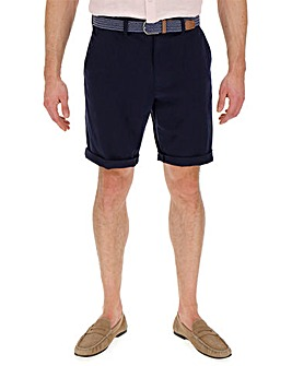 Navy Turnup Chino Shorts with Belt