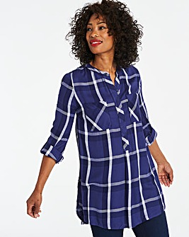 Navy Check Longline Tunic Shirt