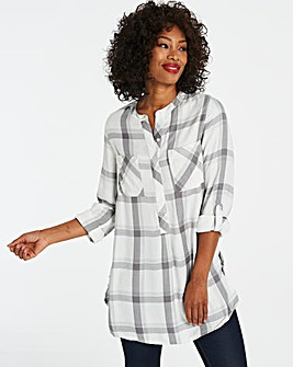 Ivory Check Longline Tunic Shirt