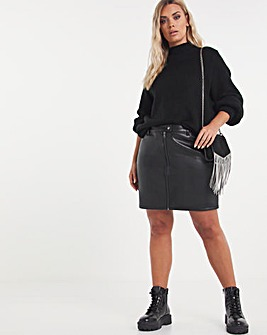 Faux Leather Mini Skirt With Zip