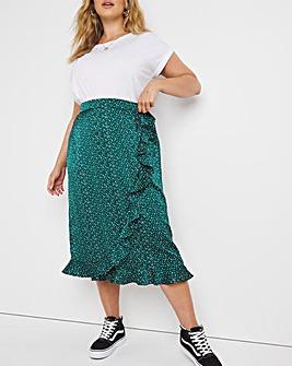 Satin Tie Waist Wrap Midi Skirt