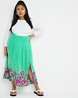 Green Border Print Side Split Midi Skirt
