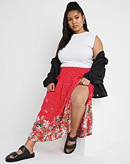 Red Border Print Side Split Midi Skirt