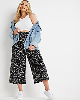 Disty Floral Shirred Waist Waffle Culotte