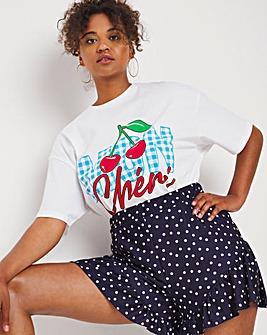 Navy Spot Jersey Frill Flippy Shorts