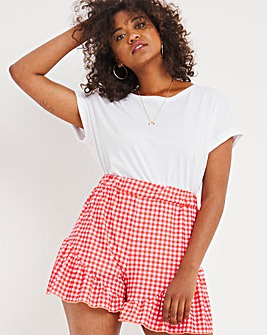 Red Gingham Jersey Frill Flippy Shorts