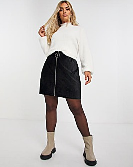 Babycord A Line Skirt with Oversized Zip