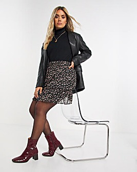 Shirred Waist Drop Hem Mini Skirt