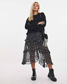 Star Print Tiered Frill Midi Skirt